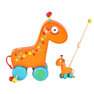 Wooden toddler giraffe push and roll toy - two ways of using it