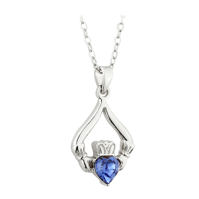 RHODIUM PLATED CLADDAGH BIRTHSTONE - SEPTEMBER