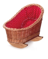 Wicker Cradle with Red & White Hearts