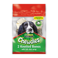 "Chewdles 4"" Knotted Bone with Fish Skin Wrap 2pk x 1"