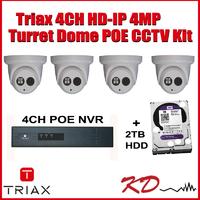 Triax 4MP 4 Camera HD IP CCTV Kit