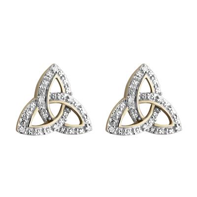10K DIAMOND SET TRINITY KNOT STUD EARRINGS