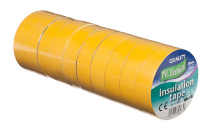 Vires Elec PVC Tape Yellow 19mm x 20M