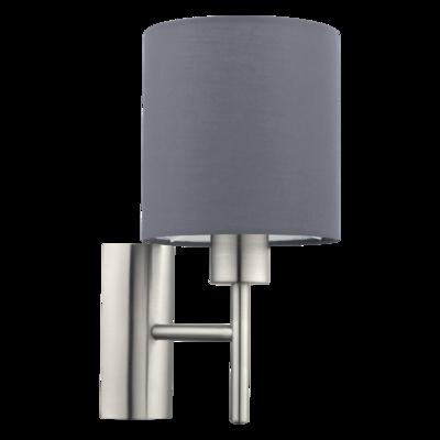 EGLO Satin Nickel and Grey Shade Wall Light Round IP20   LV1902.0106