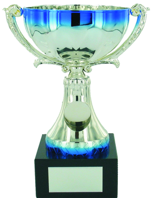 19cm Silver & Blue Metal Cup with Centre | TC