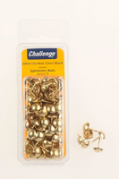 Challenge Brass Plated Upholstery Nails 10mm Head Clam Pack 75pk - 40271