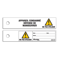 Master Lock Do not operate safety maintenance tag, french