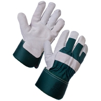 Supertouch Elite Rigger Green, Rubber Cuff And Cow Split Leather, Green