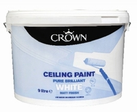 CROWN CEILING PAINT BRILLIANT WHITE 9 LTR