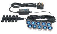 SAXBY 10-SET BLUE LED DECK LIGHT KIT IP67  (CUT-OUT 22MM OVERALL 30MM) 3MTR'S OF CABLE WITH EACH LIGHT