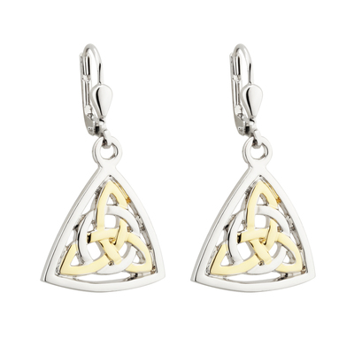 TWO TONE PLATED CELTIC KNOT DROP EARRINGS