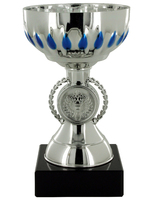 16cm Plastic Silver Cup with Blue