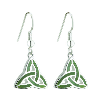 sterling silver connemara marble trinity knot drop earrings s33301 from Solvar
