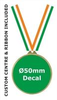 55mm Medal / CUSTOM Centre & TRI Ribbon (G)