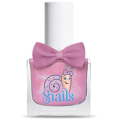 Glittery pink kids-safe nail polish that washes off with soap and water.