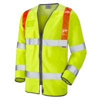 Leo Barbrook Orange Brace Sleeved Waistcoat Yellow