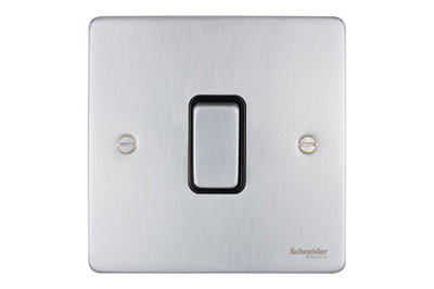 Schneider Ultimate Low Profile Intermediate switch Brushed Chrome with Black Insert   LV0701.0023