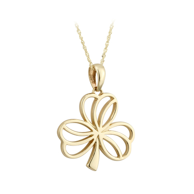 9K MEDIUM SHAMROCK PENDANT(BOXED)