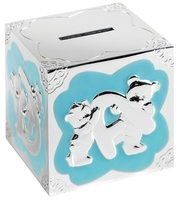 Silver Plated Money Box (Blue) | TC113