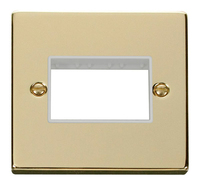 Click Deco Victorian Polished Brass with White 1 Gang Plate Triple Aperture | LV0101.1821
