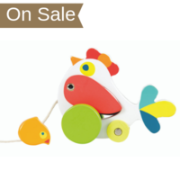 Wooden pull along toy chicken with chick
