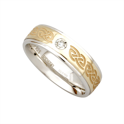 SILVER & 10K GOLD LADIES DIAMOND BAND(BOXED)