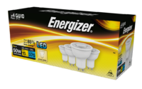 ENERGIZER 4 PACK LED 5W (50W) 375 LUMEN GU10 LAMP WARM WHITE