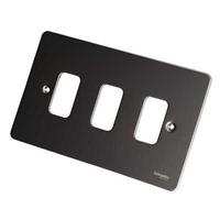 Schneider grid c/plate 3g Black nickel cw mount frame LV0701.0999