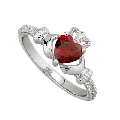 GARNET CLADDAGH RING (JANUARY BIRTHSTONE)