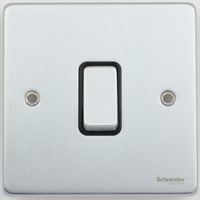 Schneider Ultimate Low Profile 1gang switch Brushed Chrome with Black Insert | LV0701.0019