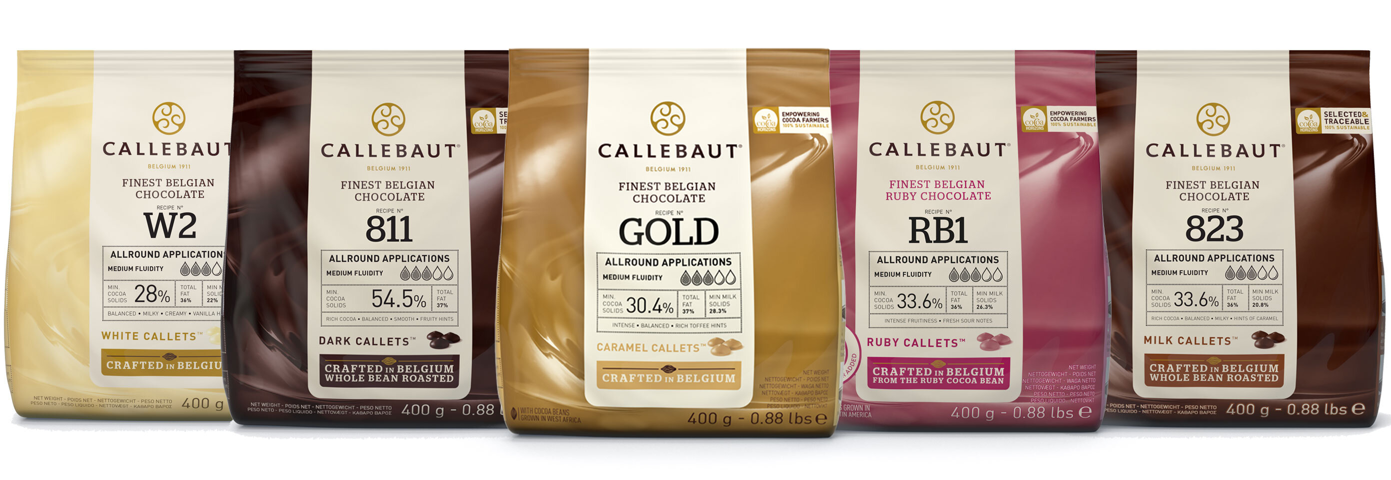 CALLETS PACK MILK - DARK 54% - Dark 70% - WHITE - GOLD - RUBY (6 x 400 Grams)