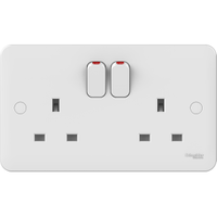 Schneider LWM 2 gang 13A Switched Socket Outlet