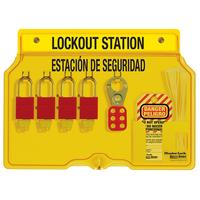 Master Lock 4-lock padlock station, english/spanish, anodized aluminum padlocks