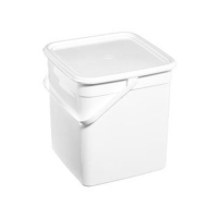 Square Snap Shut Pail With Plastic Handle