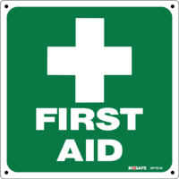 First Aid Sign with White Cross
