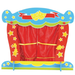 Colourful wooden finger puppet theatre with curtains closed