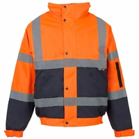 Supertouch Hi-Visibility 2 Tone Bomber Jacket, Orange/Navy
