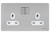 Schneider Ultimate Screwless 2 Gang Switch Stainless Steel white|LV0701.0928