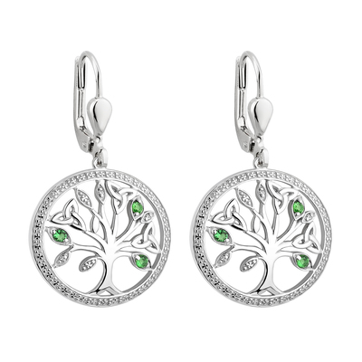 S/S CRYSTAL ILLUSION TREE OF LIFE DROP EARRINGS