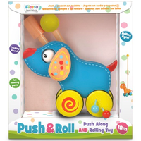 Wooden toddler dog push and roll toy - boxed