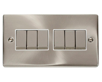 Click Litehouse DECO 6G 2Way Ingot Switch White Insert Satin Chrome