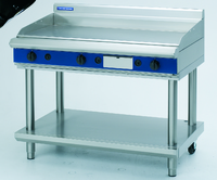 Blue Seal Evolution Series Heavy Duty Griddle, gas, 1200 mm, 20 mm thick smooth mild steel plate, thermostatic control, stainless steel grease drawer, splashback, open stand with shelf, adjustable feet with rear castors, stainless steel finish, 31 Gas kW