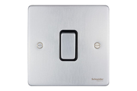 Schneider Ultimate Low Profile Intermediate switch Brushed Chrome with Black Insert | LV0701.0023