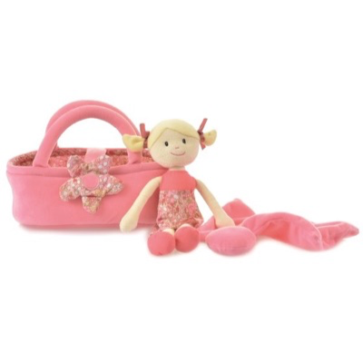 Rag doll Sophie with her carrycot bed - magnetic flower clasp, soft blanket and pillow