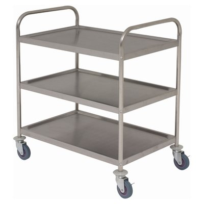Trolley (Flat Packed) 85.5L x 53.5W x 93.3H 3 Tier, Stainless Steel