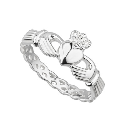 ladies sterling silver weave claddagh ring s2865 from Solvar