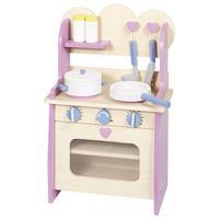Wooden children's play kitchen with accessories - in cute pastel colours