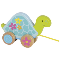 Wooden tortoise pull along toy for toddlers