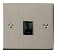 Click Deco Victorian Stainless Steel with Black Insert Single RJ11 Socket  | LV0101.0094