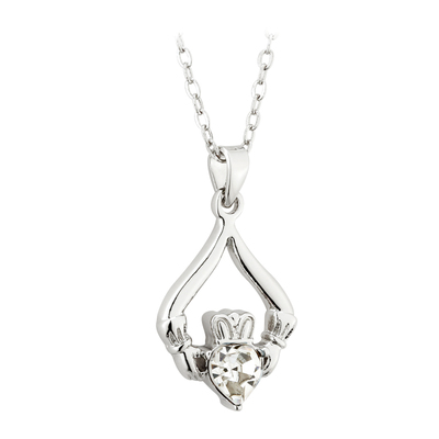 RHODIUM PLATED CLADDAGH BIRTHSTONE - APRIL